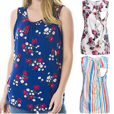 AU Women's Maternity Floral Nursing Top Sleeveless Comfy Breastfeeding Clothes
