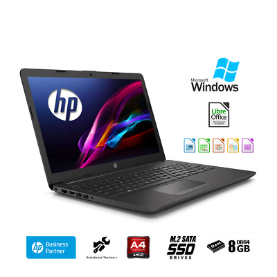 "Notebook Hp 255 G7 15.6""A4-9125,Ram 8Gb Ddr4,Ssd M.2 500Gb,Windows 10 PRO"