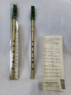 (2) Feadog Irish Whistle, Brass Key of D, Penny Whistle, Flauta Flute (1 opened)