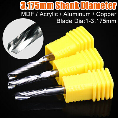 MDF Carbide Flat Nose Mill High Quality 3.175 Shank Single Flute CNC Router Bit