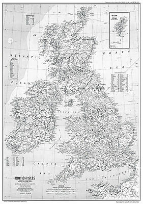 GB Great Britain Map Large Poster Art Print Black & White Card or Canvas