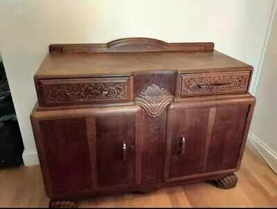 Large Antique Solid Oak Carved Sideboard 1920s Jacob Summers & Sons Art Deco