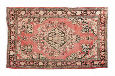 Unique Nice Antique  4x7 Wool Vintage Pink Hand Knotted Turkish Area Rug