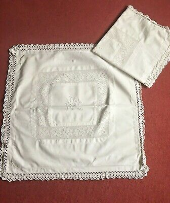 Pair Of Antique Crochet Edge French Linen Square Pillowcases - Lace Insert & Mon