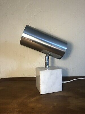 Vintage Mid Century Koch & Lowy? Chrome & Marble Cylinder Table Lamp