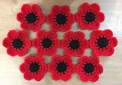 """10 CROCHET FLOWERS 3.5"""" SPARKLY HANDMADE FOR GRANNY SQUARES CUSHIONS BLANKETS"""