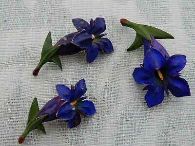 """3 Unusual Vintage carved & hand painted """"enzian"""" Austrian flowers, Brooches"""