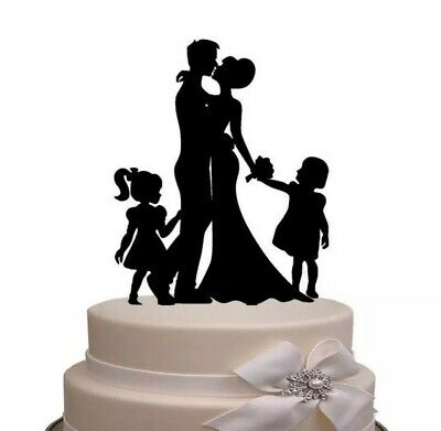 Wedding Cake Topper-Two Little Girls/Daughters Family-Black Acrylic-Bride/Groom