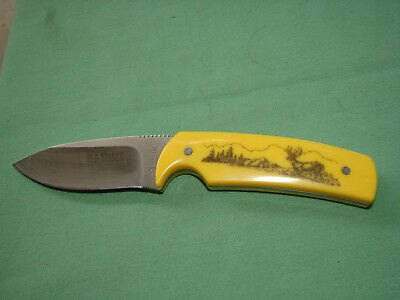 1112 yellow SCHRADE OLD TIMER SCRIMSHAW  HUNTING KNIFE   W4