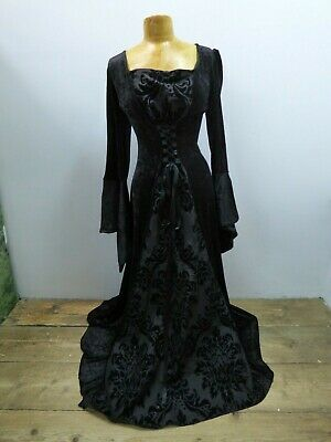 4376b0b510ae2 Womens Black Crushed Velvet Full Length Gothic Medieval Dress - UK Size 12  #21B