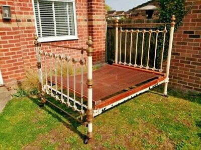 """Genuine Victorian antique brass double bed 4'6"""", dismantles for transportation"""