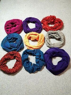 Lot Of 9 Women's  Assorted Colors Infinity Loop Neck Knit Scarves Unbranded