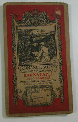 1932 Old OS Ordnance Survey One-Inch Popular Edition Map 118 Barnstaple Exmoor