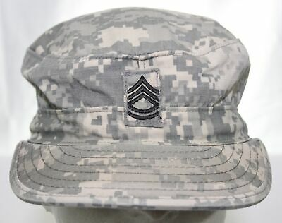 US Army ACU Digital Camouflage Hat Size 7 1/4 RANK SFC E7 SERGEANT FIRST CLASS