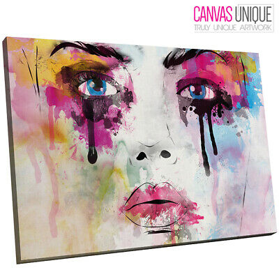 E162 pink abstract minimalist face  Canvas Wall Art Framed Picture Print
