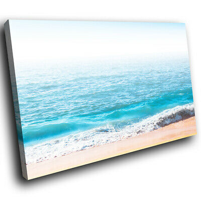 SC1016 blue beach sea waves sand Scenic Wall Art Picture Large Canvas Print