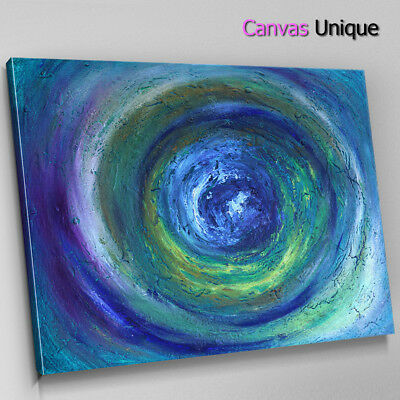 1s266s Abstract Canvas Modern Large Teal Swirl 49cm Square