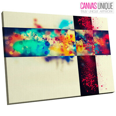 AB542 Blue Modern Minimalist Spots Abstract Canvas Wall Art Framed Picture Print