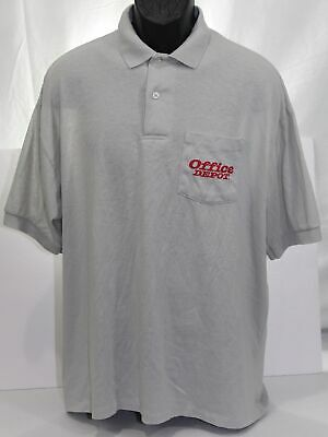 a4ee357c Vintage Office Depot Mens Polo Shirt Employee Uniform Top Gray Print-Ons  Pocket