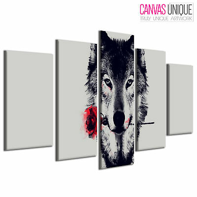 5PA466 Arctic Wolf Red Rose Abstract Animal Multi Frame Canvas Wall Art Print