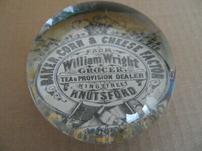 Vintage Glass Paperweight advertising William Wright Knutsford
