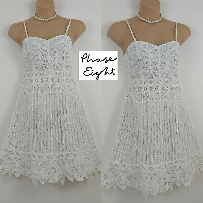 6dea0d7349d0 Beautiful Phase Eight Strappy Cotton Broderie Lace Cotton Fit Flare Summer  Dress