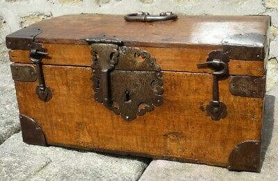 Very Fine 17th Century Oak & Iron Bound Chest Casket circa 1680