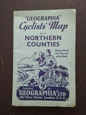 Old Geographia cyclists map Northern Counties No.4