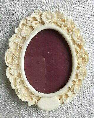 Antique Hand Carved Oval Easel Back Miniature Frame