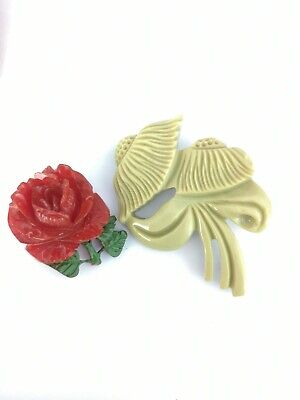 Vintage Art Deco Bakelite Carved Amber Rose and green lucite Flower Brooches Pin