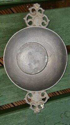 Mid 17th Century c1650 French Flur de Lei Pewter Porridger w/old repairs