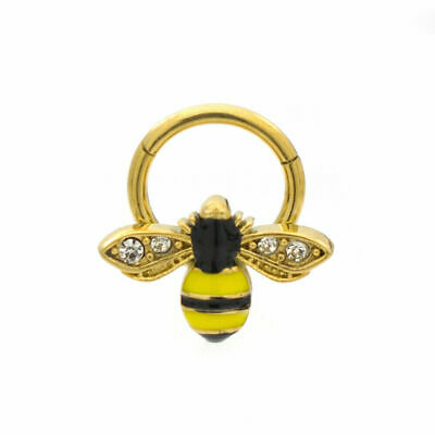 Ear Cartilage & Septum Segment Ring Hinged with Bee Design 16ga Surgical Steel