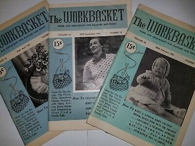 Crochet Knitting Pattern Booklet Lot 3 The Work Basket Magazine VTG 1951 50's