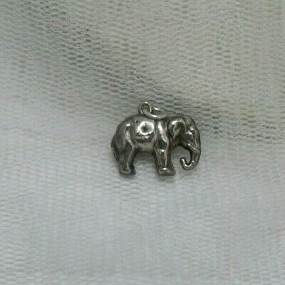 Vintage Silver Tested Puffy Style Elephant Charm Or Small Pendant.
