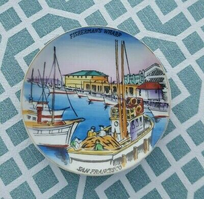 Vintage Japan Fisherman's Wharf San Francisco, CA Hand Painted Souvenir Plate