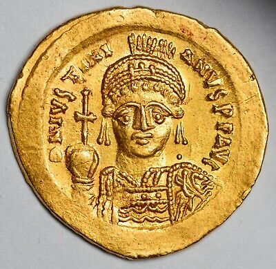 BYZANTINE Justinian 1st Gold Solidus (527-565 AD) - EX KUNKER AUCTION