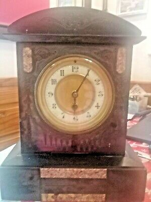 early victorian black marble stone mantel clock working