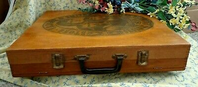 Vintage Art Box Artist Box Divided Art Supply Case With Graphic