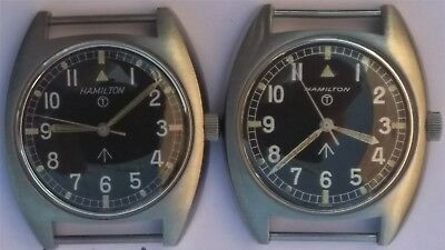 "Pair British Military Watch, Hamilton Army W10 1973 & 1975 ""Same Serial Numbers"""
