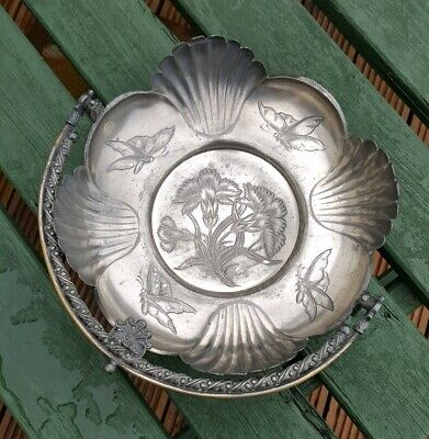 Aesthetic Movement Swing Handle Siver Plate Pewter Basket Butterfly Carnations