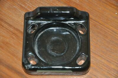Antique Vtg Retro Art Deco BLACK Porcelain Cup & Toothbrush Holder Wall Mount N2