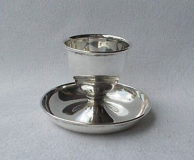 * *Rare* *Elegant Plain Egg Cup with Coaster from 835 Silver Holland
