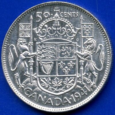 "1941 Canada Silver 50 Cents ""Narrow Date"" 11.66 Grams .800 Silver"