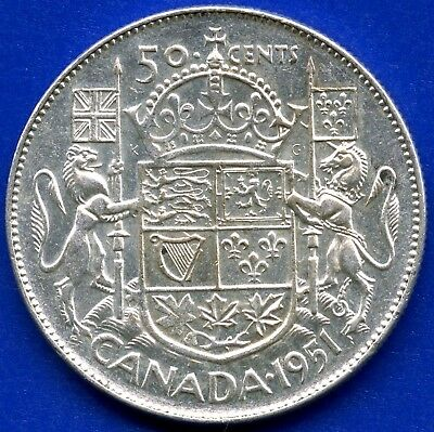 "1951 Canada Silver 50 Cents ""Narrow Date"" 11.66 Grams .800 Silver"