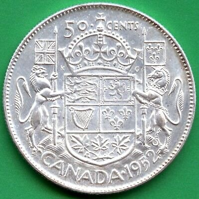 "1952 Canada Silver 50 Cents ""Narrow Date"" 11.66 Grams .800 Silver"