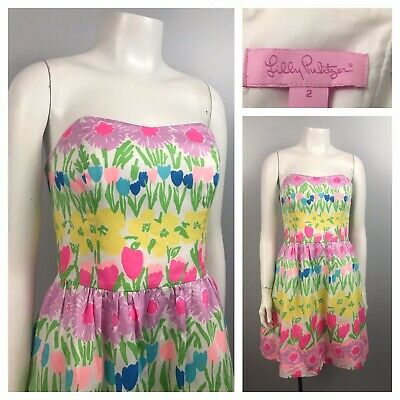7b3f2b8c939e Lilly Pulitzer Strapless Pastel Mini Dress Floral Sleeveless Dress Size 2
