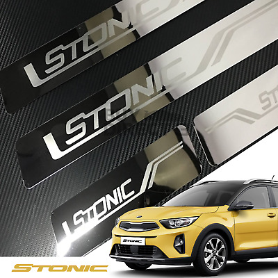 x4 Kia Stonic Door Stainless Steel Sill Pedal Plates Guard Protectors Covers