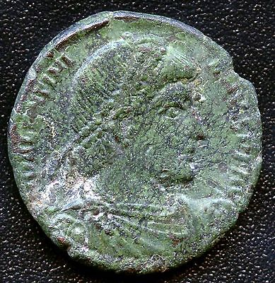 Ancient Roman Coin Emperor with Beaded Crown / Figure Holding Staff 16 mm Dia.
