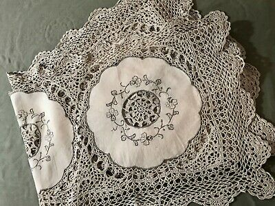 "Early Vintage Gorgeous  Crochet Lace & Embroidery Off-white Tea Tablecloth 34""SQ"