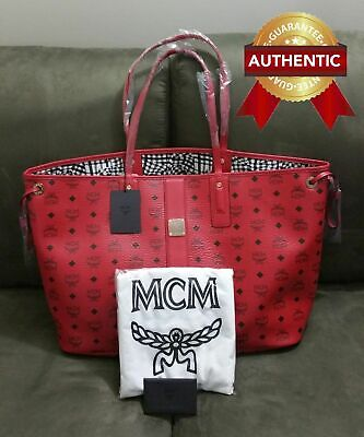 NEW Authentic MCM Large Reversible Liz Shopper tote bag Ruby (Red)